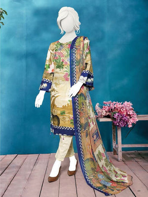 Zoha Premium Embroidered Lawn Collection 2020 3pc Suit GE-1719 - FaisalFabrics.pk