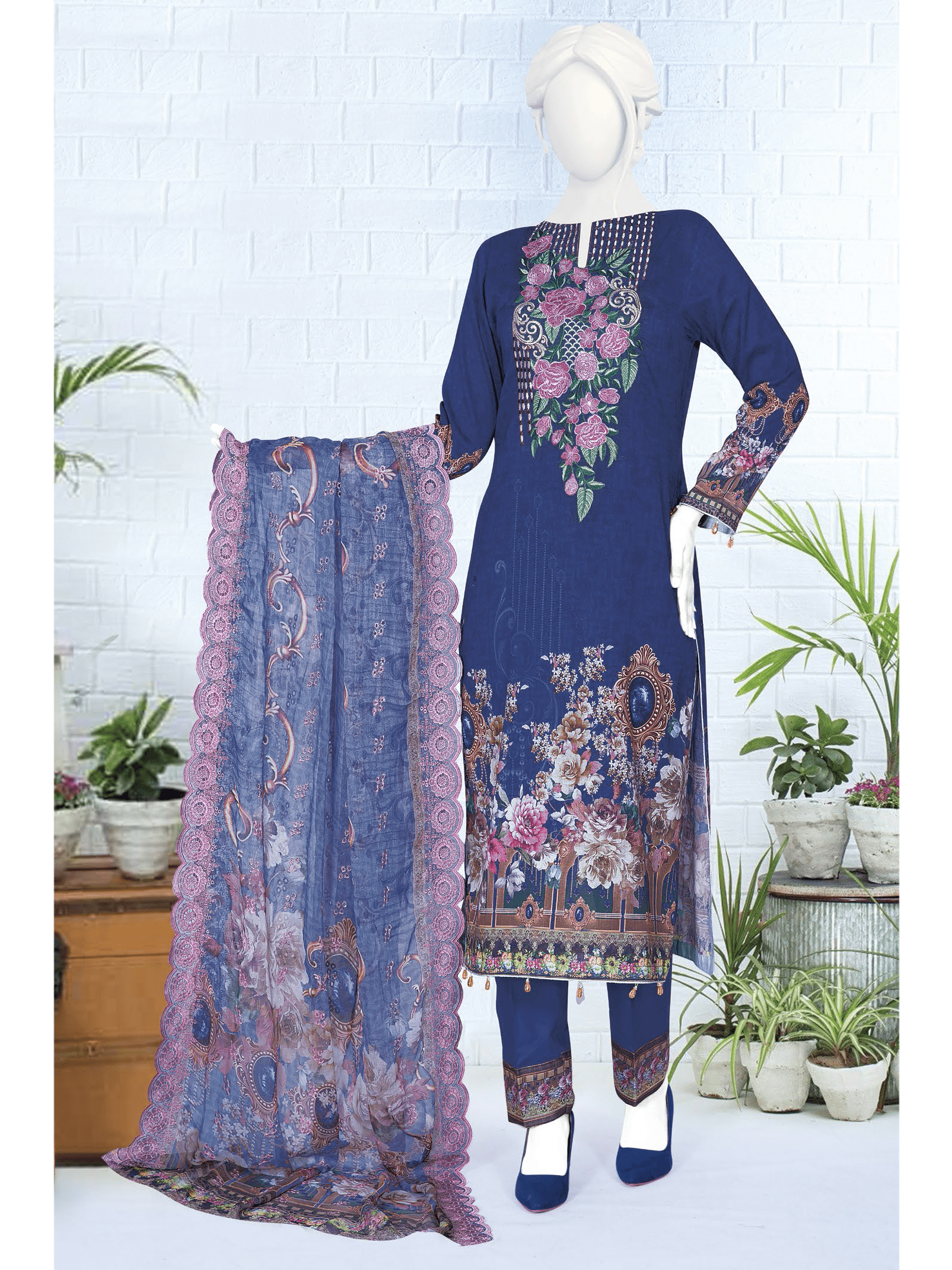 Anji Embroidered Lawn Unstitched 3 Piece Suit 2019 GE-458 - FaisalFabrics.pk