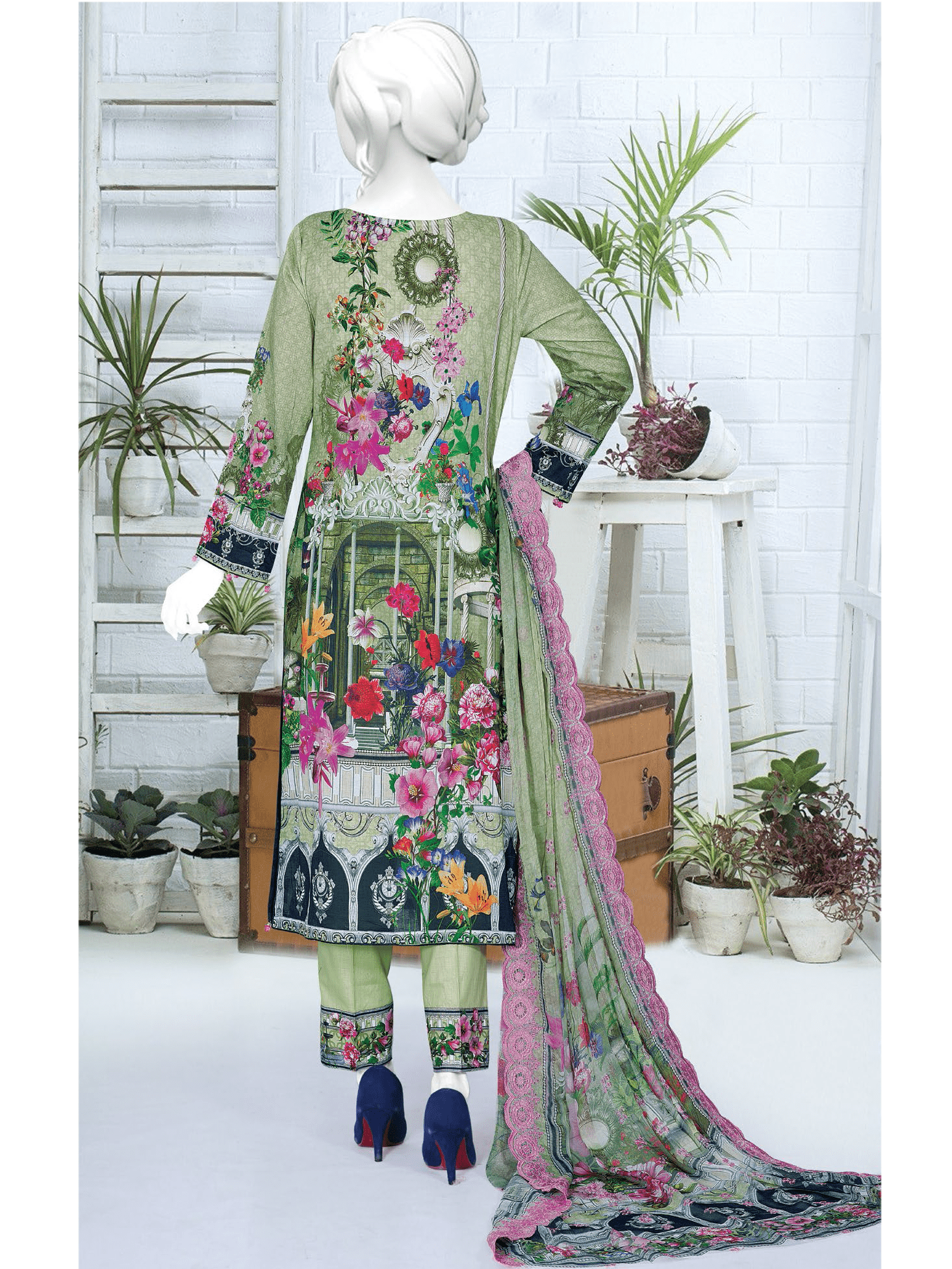 Anji Embroidered Lawn Unstitched 3 Piece Suit 2019 GE-460 - FaisalFabrics.pk