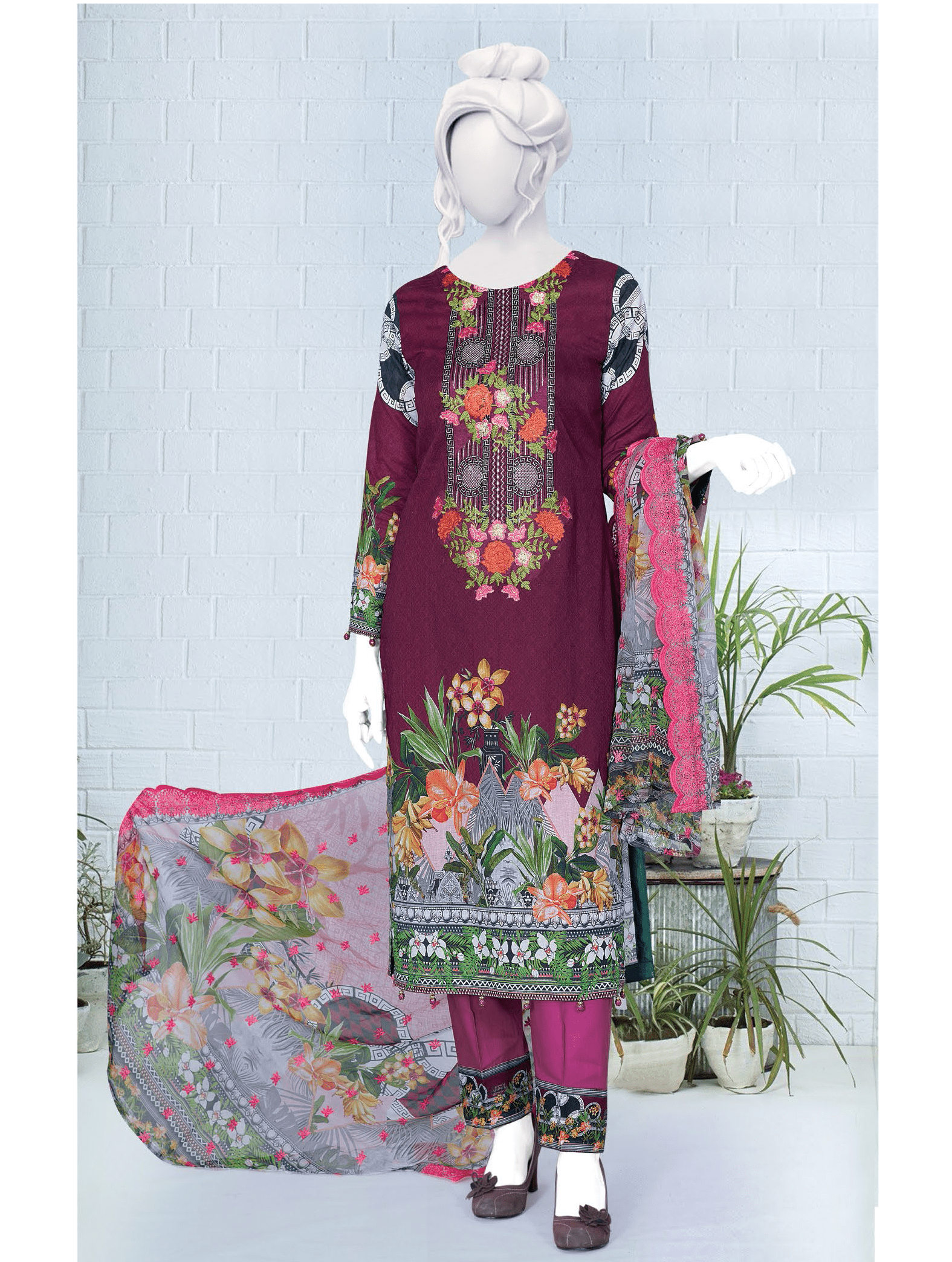 Anji Embroidered Lawn Unstitched 3 Piece Suit 2019 GE-462 - FaisalFabrics.pk