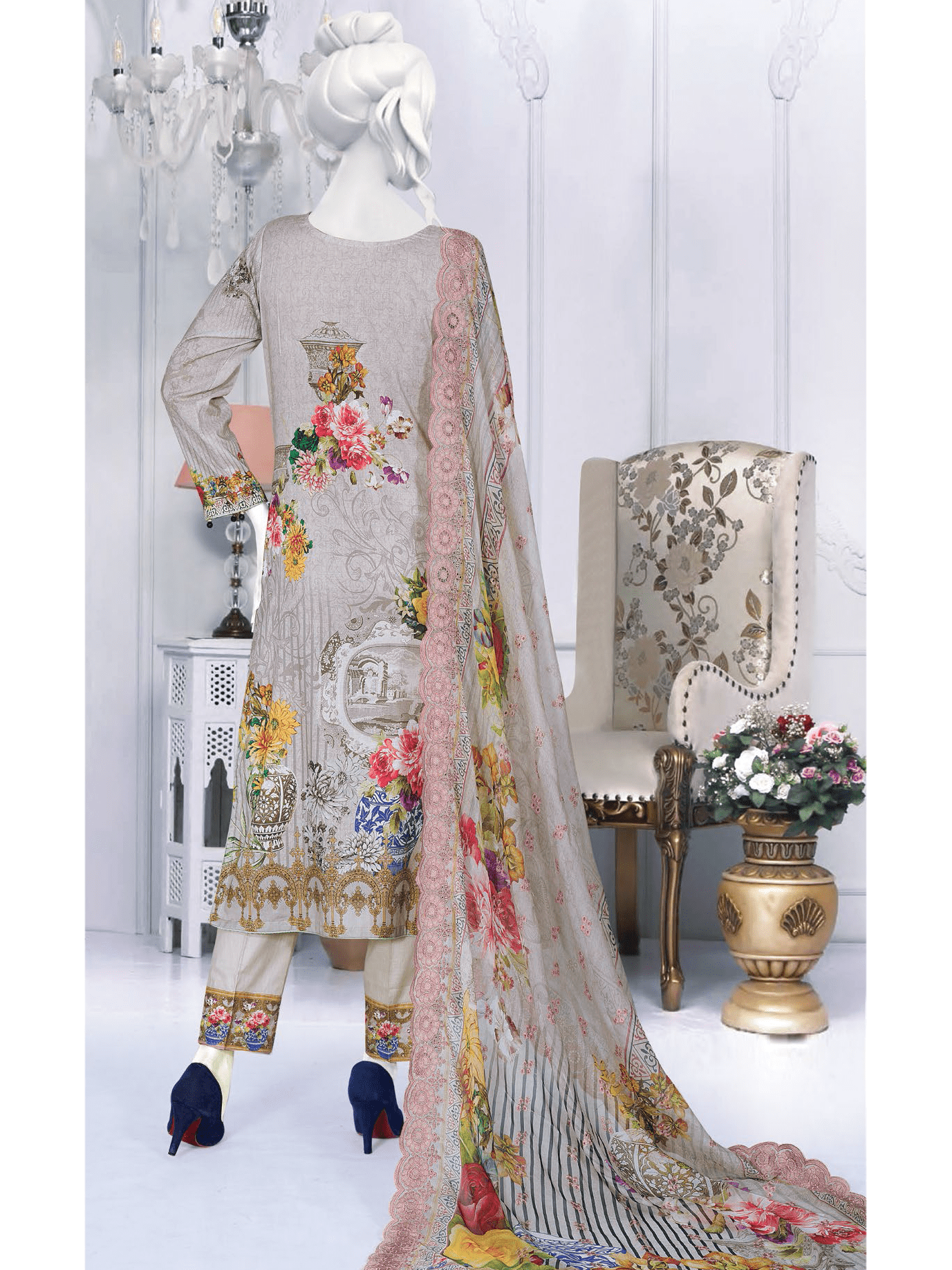 Anji Embroidered Lawn Unstitched 3 Piece Suit 2019 GE-465 - FaisalFabrics.pk