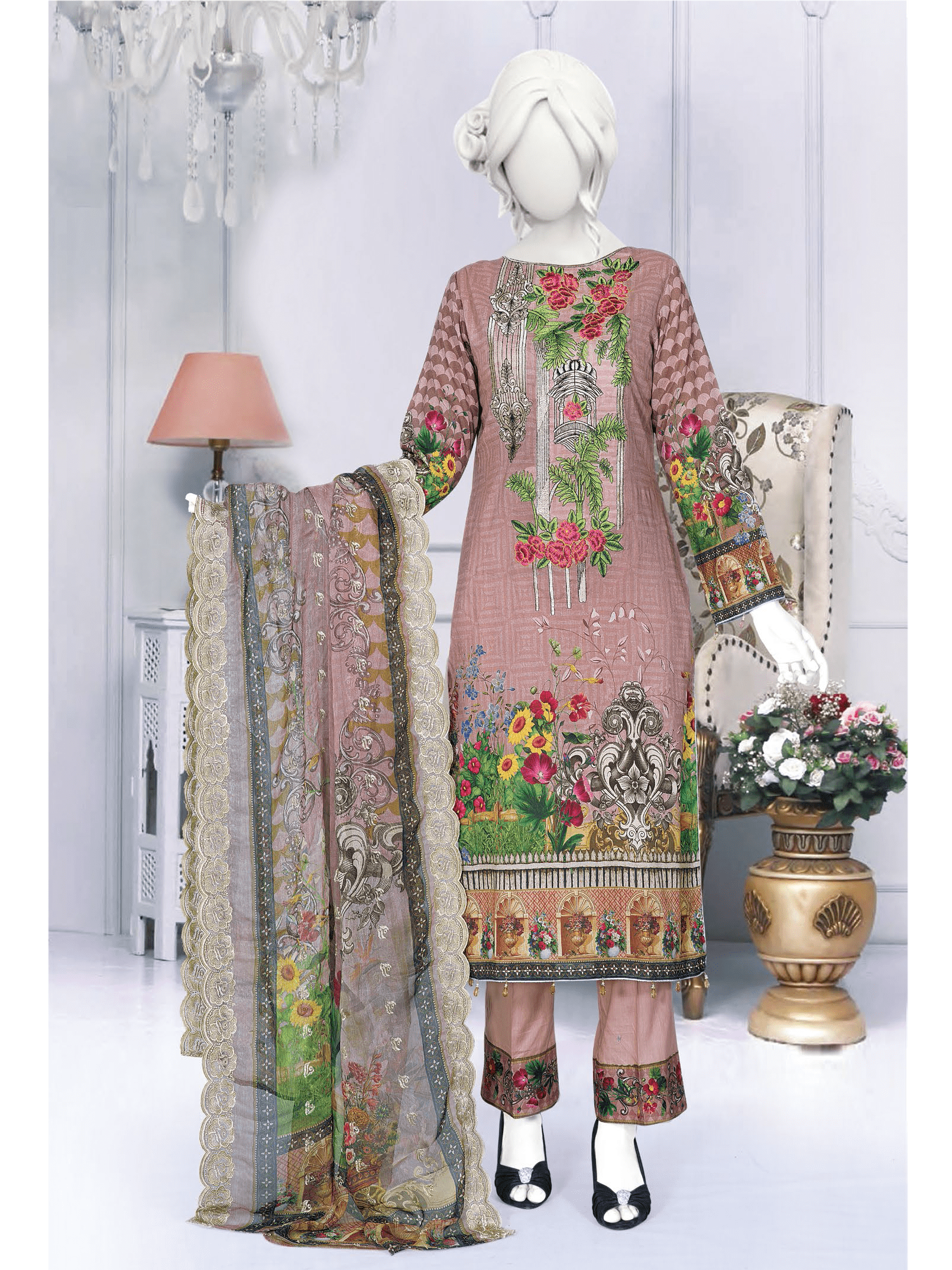 Anji Embroidered Lawn Unstitched 3 Piece Suit 2019 GE-467 - FaisalFabrics.pk