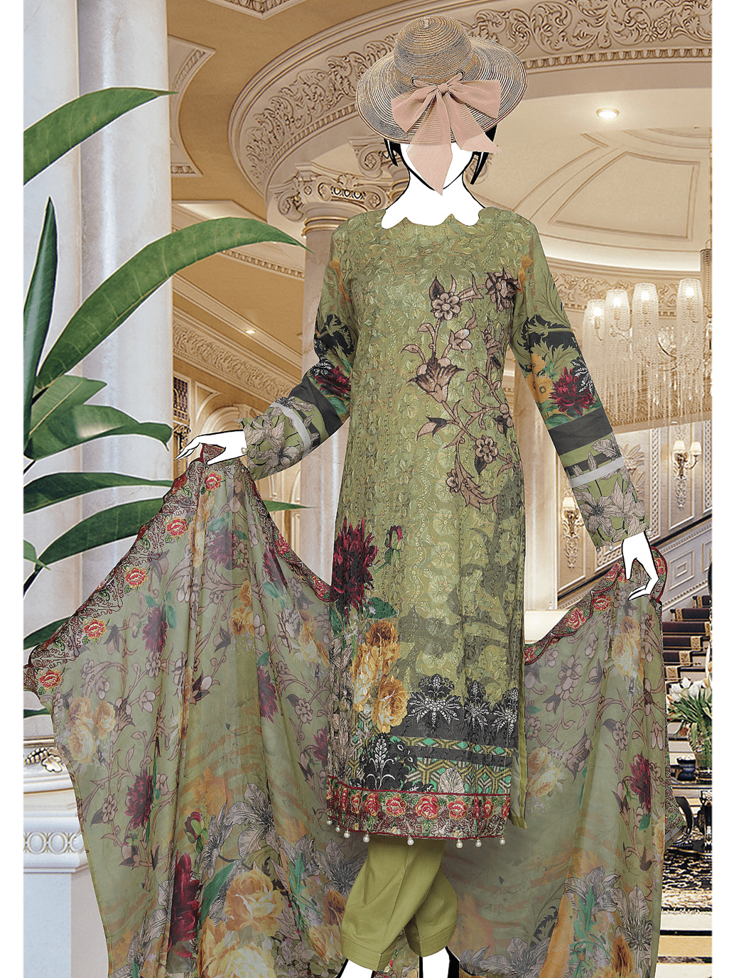 Chikan kari Embroidered Lawn Unstitched 3 Piece Suit 2019 GE-496 - FaisalFabrics.pk