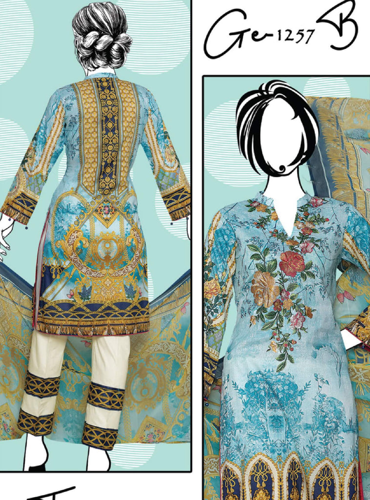 Shiza 3PC Premium Embroidered Lawn Suit Summer Collection GE 1257B