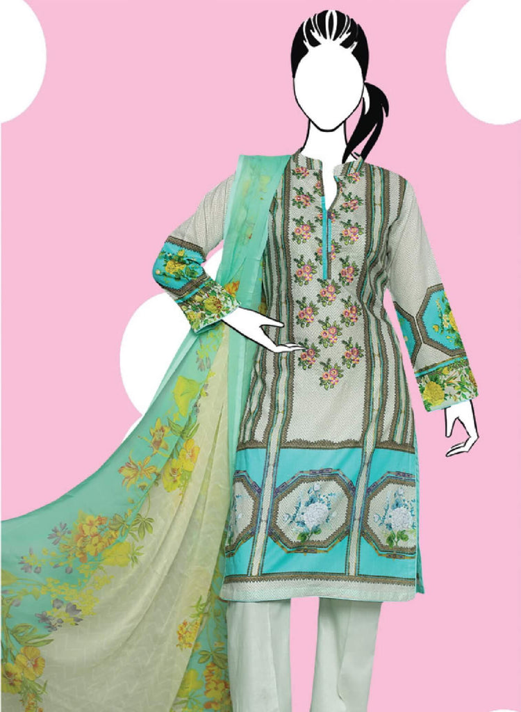 Shiza 3PC Premium Embroidered Lawn Suit Summer Collection GE 1263A
