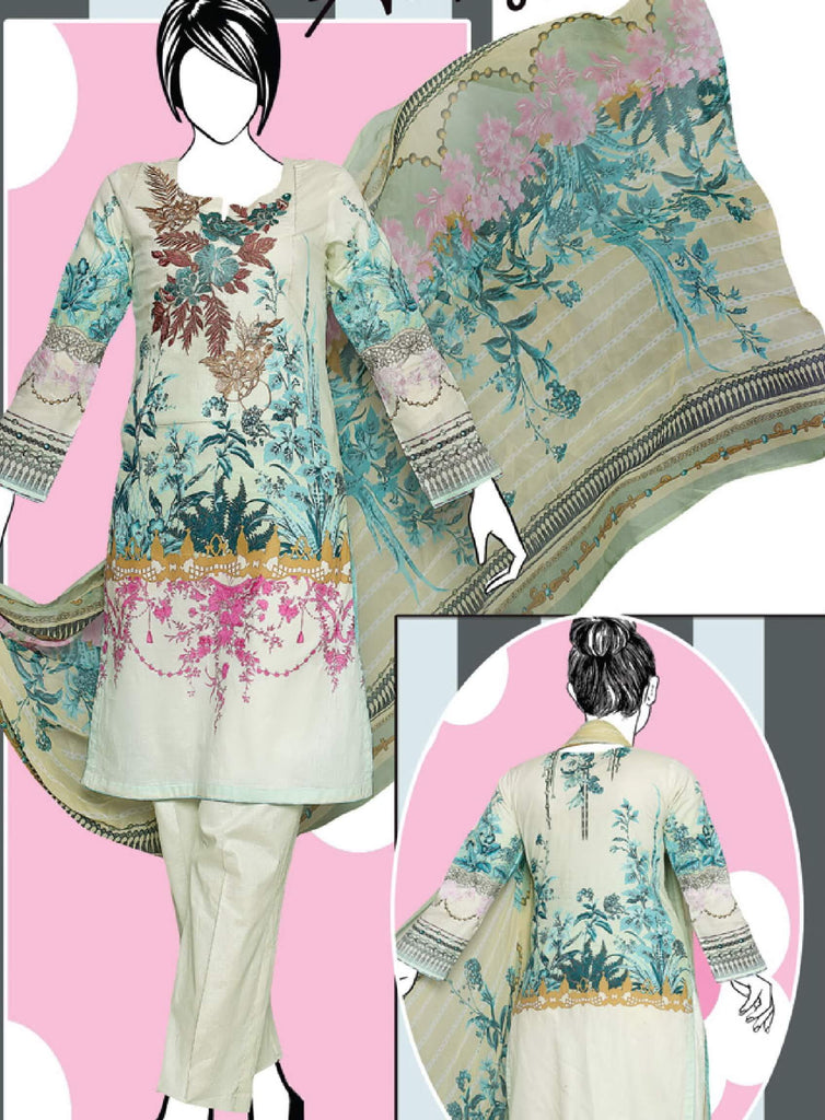 Al-Boutique - Shiza 3PC Premium Embroidered Lawn Suit Summer Collection GE 1264A - faisalfabrics-pk