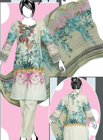 Shiza 3PC Premium Embroidered Lawn Suit Summer Collection GE 1264A