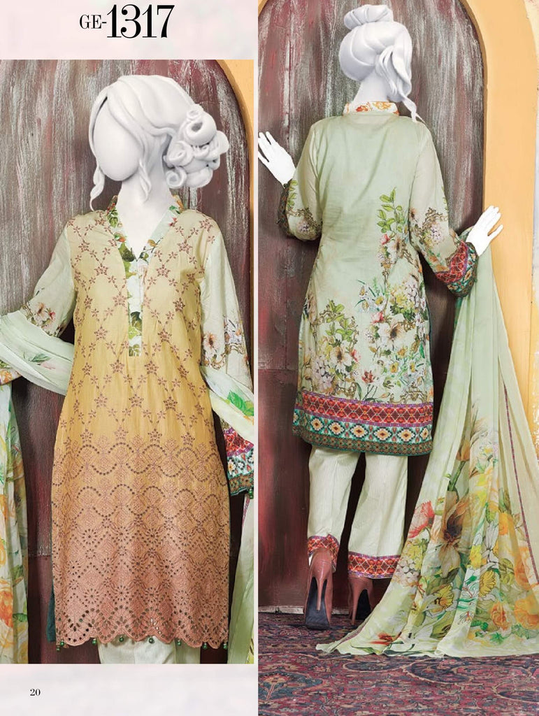 Tooba 3PC Premium Embroidered Lawn Suit Summer Collection GE 1317 - FaisalFabrics.pk