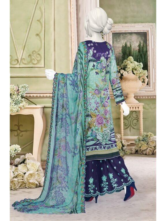 Festive Chikan Kari Lawn 2019 with Embroidered Trouser 3pc Suit GE 746 - FaisalFabrics.pk