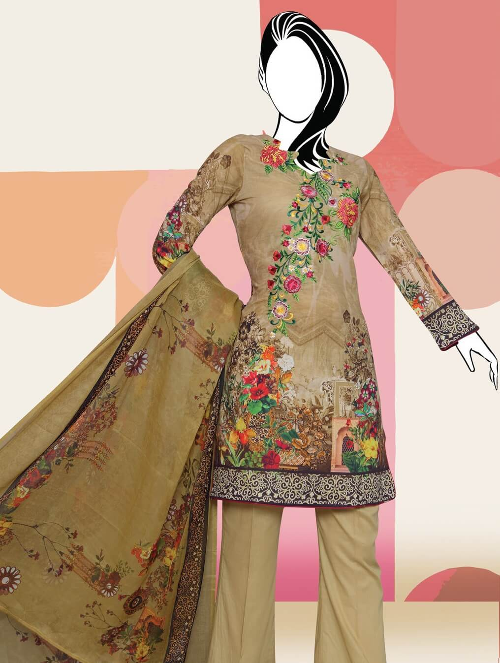 BANGASH Edition 2 Embroidered Lawn Unstitched 3 Piece Suit 2019 GE-839 - FaisalFabrics.pk