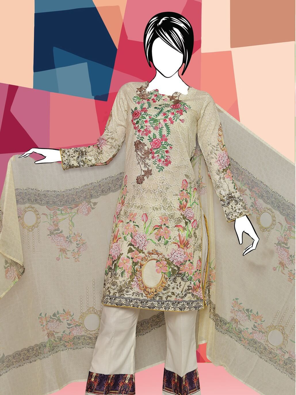 BANGASH Edition 2 Embroidered Lawn Unstitched 3 Piece Suit 2019 GE-840 - FaisalFabrics.pk