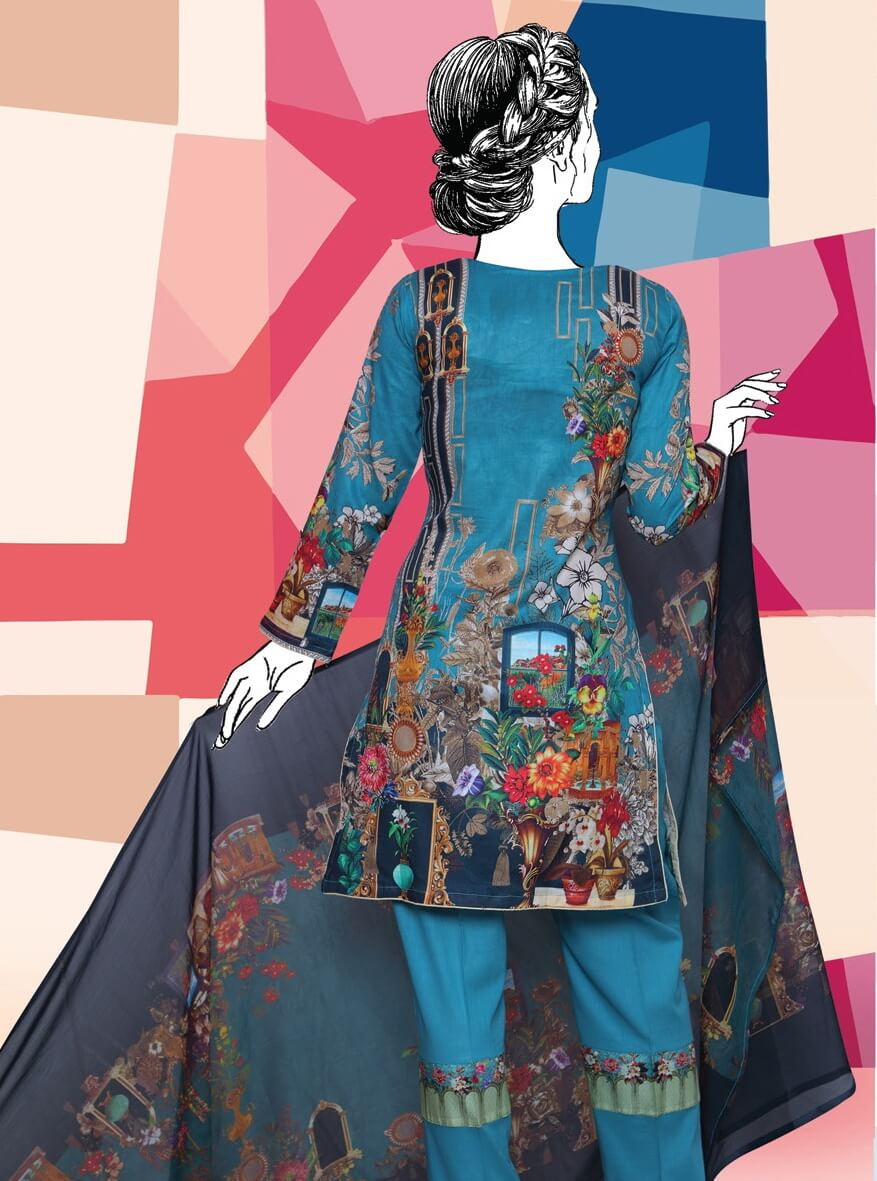 BANGASH Edition 2 Embroidered Lawn Unstitched 3 Piece Suit 2019 GE-846 - FaisalFabrics.pk