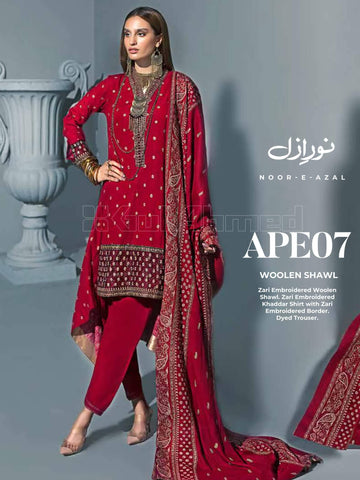 GulAhmed Embroidered Shawl Collection 2019 3Pc Suit APE-07 NOOR-E-AZAL
