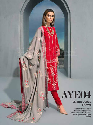 GulAhmed Embroidered Shawl Collection 2019 3Pc Suit AYE-04 GUL-E-RANA