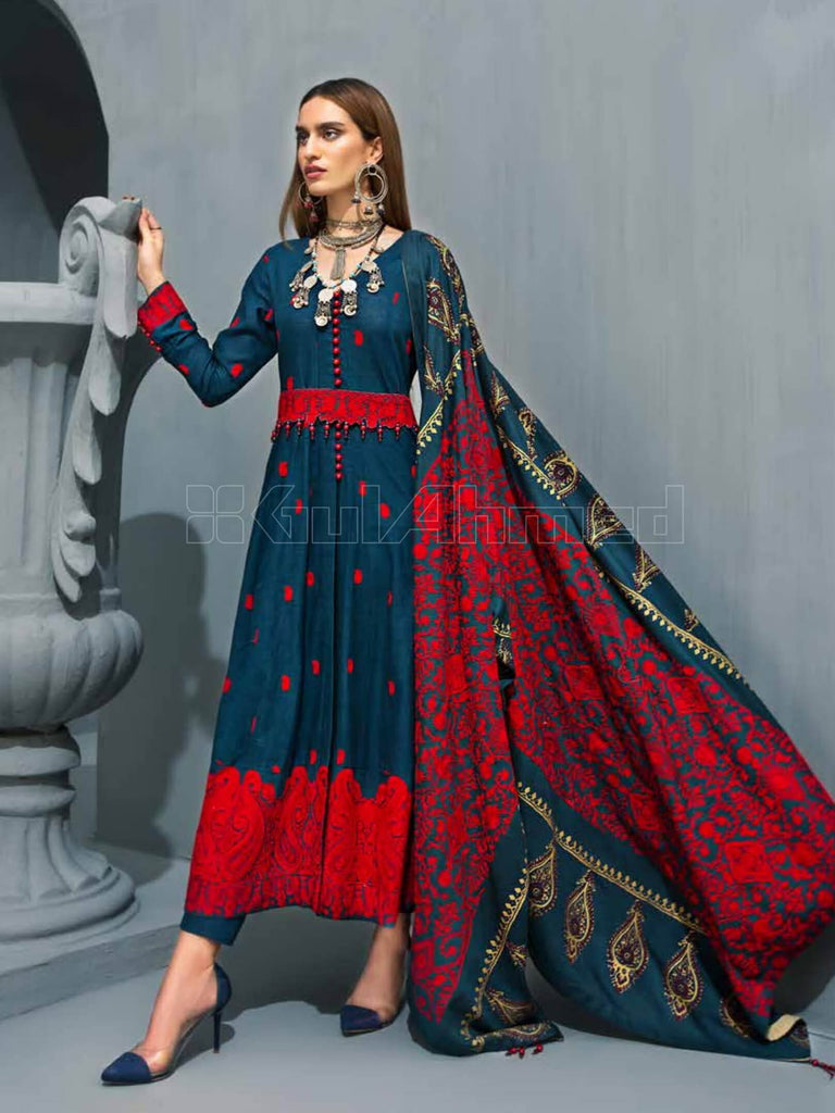 GulAhmed Embroidered Shawl Collection 2019 3Pc Suit AYE-07 RUKH-E-ZEBA