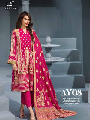 GulAhmed Embroidered Shawl Collection 2019 3Pc Suit AY-08 AASHNA
