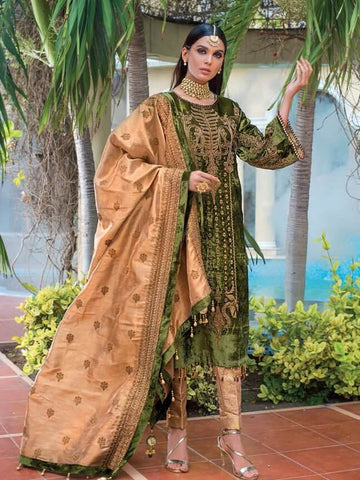 GulAhmed Noor-e-Chasham Embroidered 3PC Suit VLW 08 AMBER