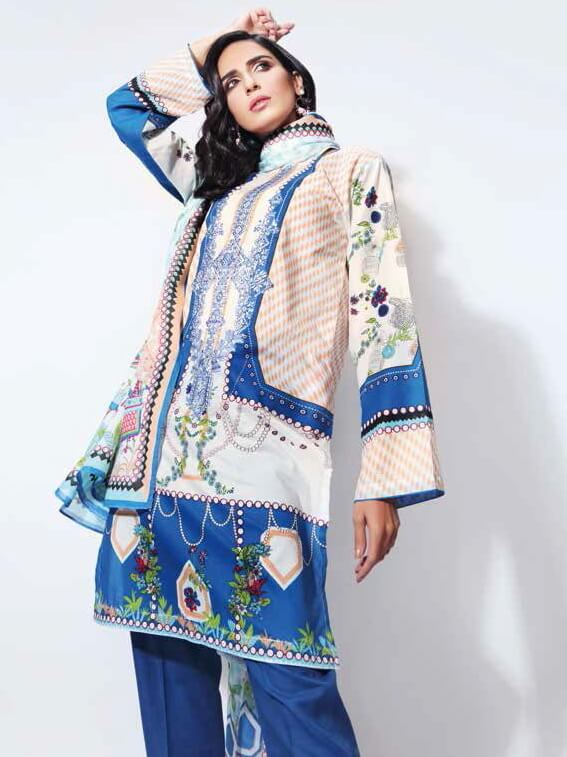 GulAhmed Bag-e-Gul Unstitched 2PC Embroidered Lawn Suit TL-265 B - FaisalFabrics.pk