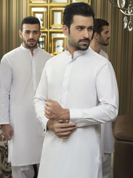 Gul Ahmed Pure Whit Chairmain Latha Unstitched Suit for Men