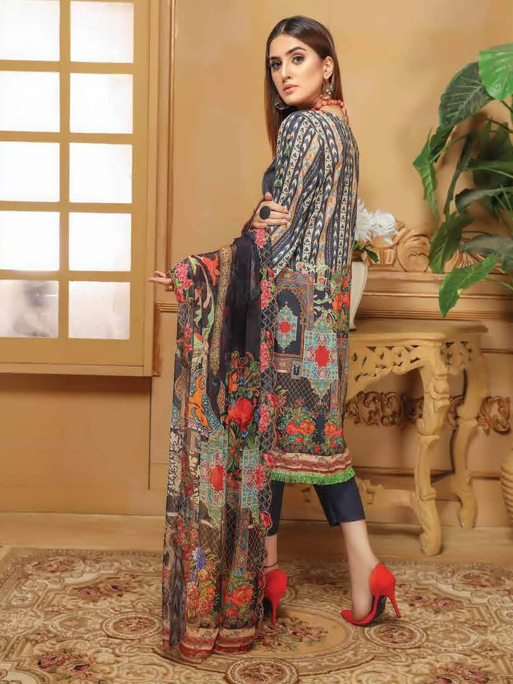 CHARIZMA Gulmor Embroidered Lawn Suit with Embroidered Dupatta D-02 - FaisalFabrics.pk