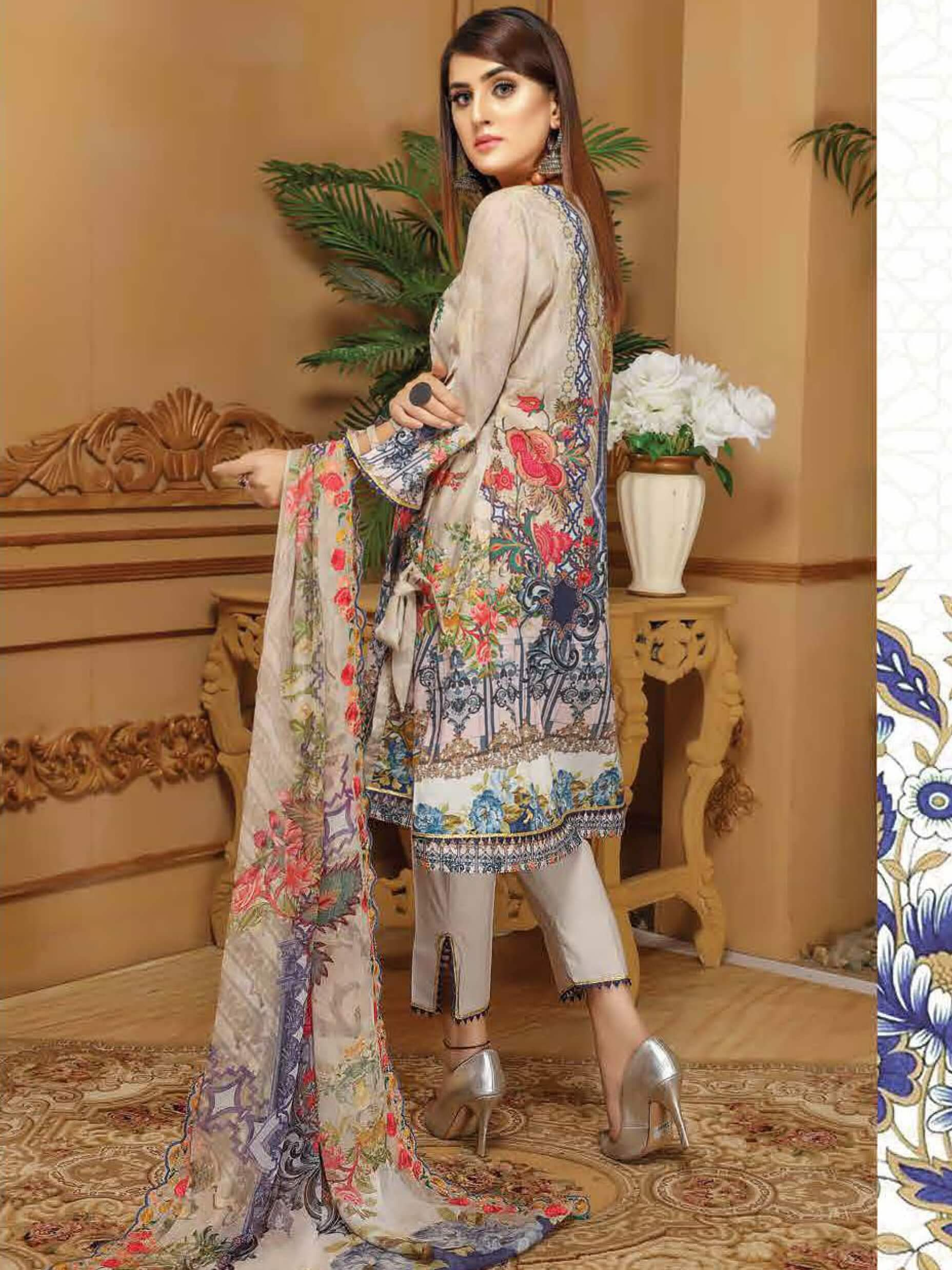CHARIZMA Gulmor Embroidered Lawn Suit with Embroidered Dupatta D-04 - FaisalFabrics.pk