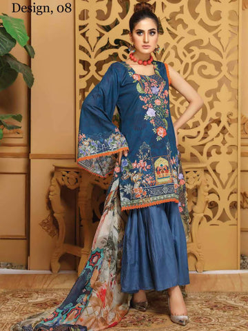 CHARIZMA Gulmor Embroidered Lawn Suit with Embroidered Dupatta D-08 - FaisalFabrics.pk