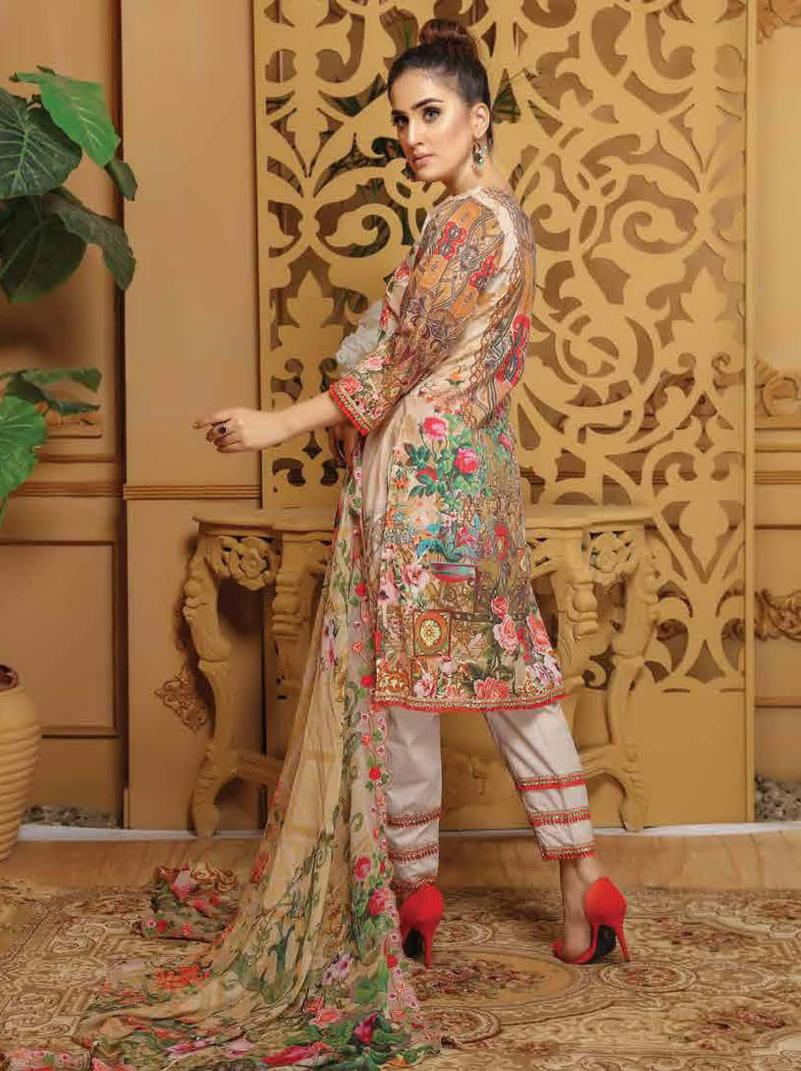 CHARIZMA Gulmor Embroidered Lawn Suit with Embroidered Dupatta D-10 - FaisalFabrics.pk