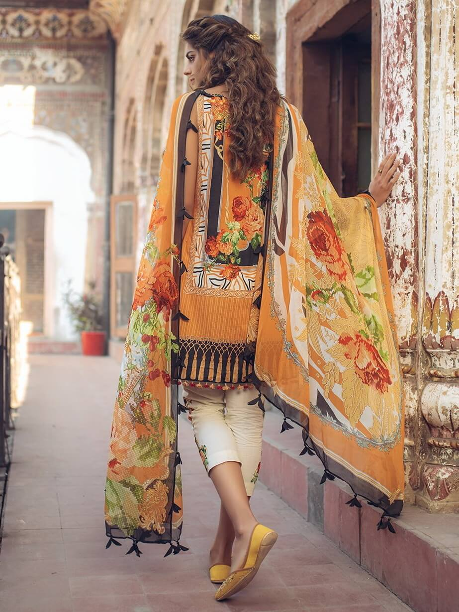 Saira Rizwan luxury lawn 2019 Unstitched Embroidered 3PC Suit LAYINA - FaisalFabrics.pk
