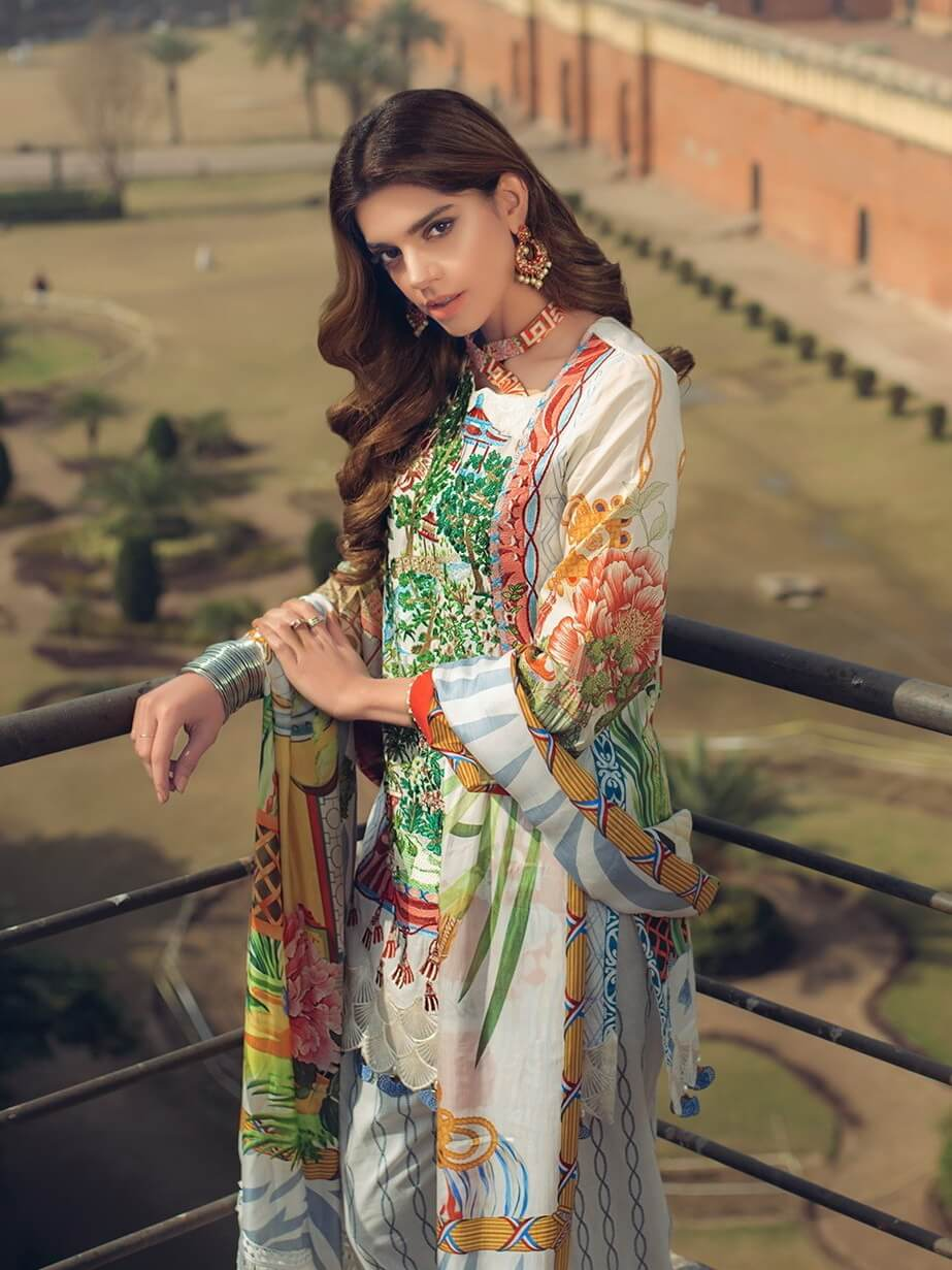 Saira Rizwan luxury lawn 2019 Unstitched Embroidered 3PC Suit MOTIA - FaisalFabrics.pk