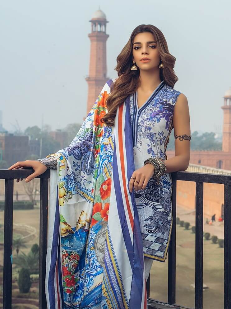 Saira Rizwan luxury lawn 2019 Unstitched Embroidered 3PC Suit PARSHEEN - FaisalFabrics.pk