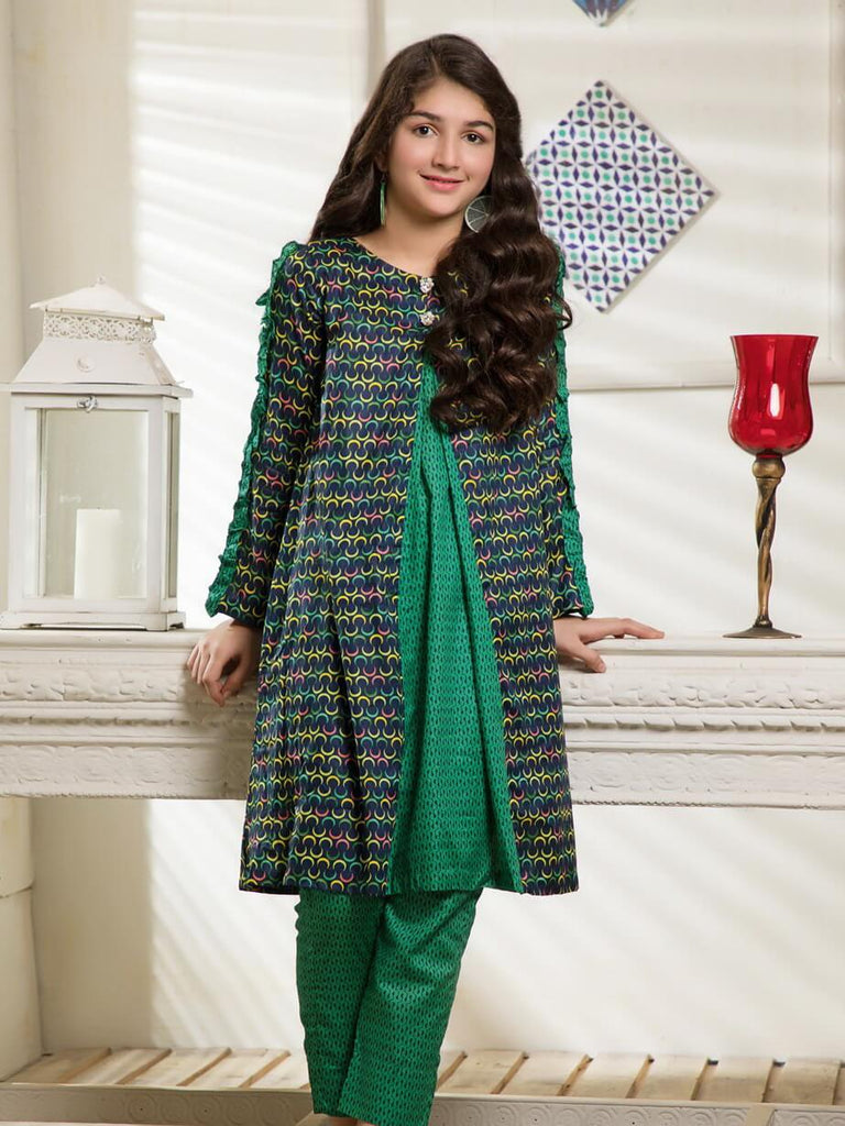 Ittehad Textile Rangoli Lawn Printed Unstitched 2 Piece Suit 2008A Green