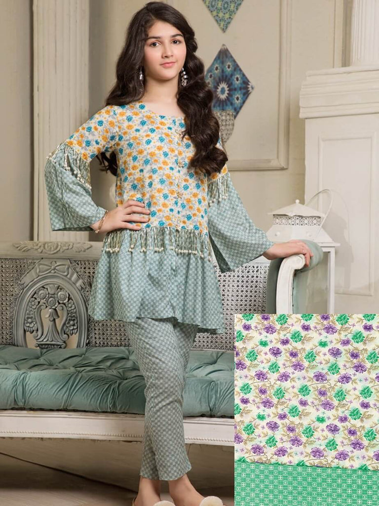Ittehad Textile Rangoli Lawn Printed Unstitched 2 Piece Suit 2021B Green