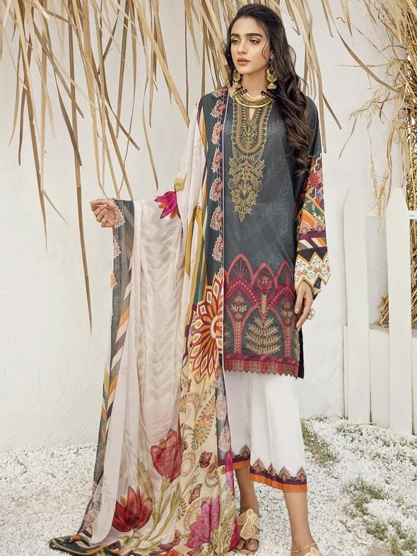 Iznik Guzel Lawn Collection 2020 3pc Suit GL20-03 Rustic Rarity - FaisalFabrics.pk