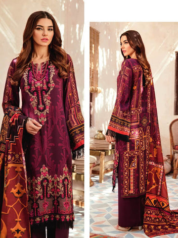 Iznik Winter Linen '19 with Shawl Unstitched 3Pc Suit IZ-01 Regal Wine
