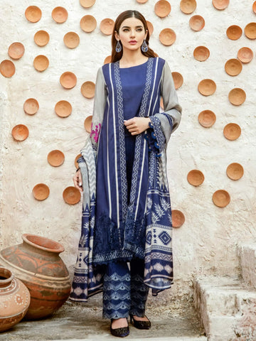 Iznik Winter Linen '19 with Shawl Unstitched 3Pc Suit IZ-02 Navy Charm