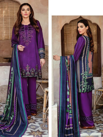 Iznik Winter Linen '19 with Shawl Unstitched 3Pc Suit IZ-03 Plum Sand