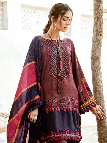 Iznik Winter Linen '19 with Shawl Unstitched 3Pc Suit IZ-04 Merlot Red