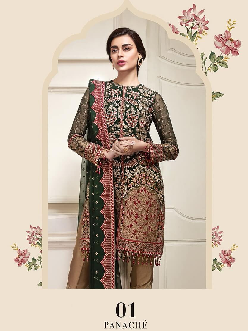 Jazmin Amerrati Luxury Chiffon 2020 Embroidered 3Pc Suit D-01 Panache - FaisalFabrics.pk