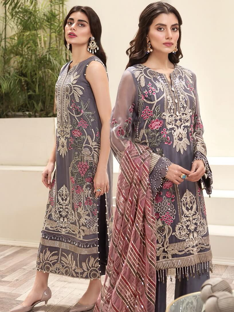 Jazmin Amerrati Luxury Chiffon 2020 Embroidered 3Pc Suit D-06 Darejan - FaisalFabrics.pk