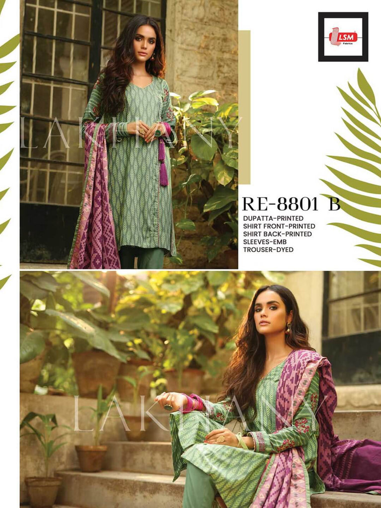 Lakhany LSM - Lakhany Embroidered Pashmina 2019 Unstitched 3 Piece Suit RE-8801 B - faisalfabrics-pk