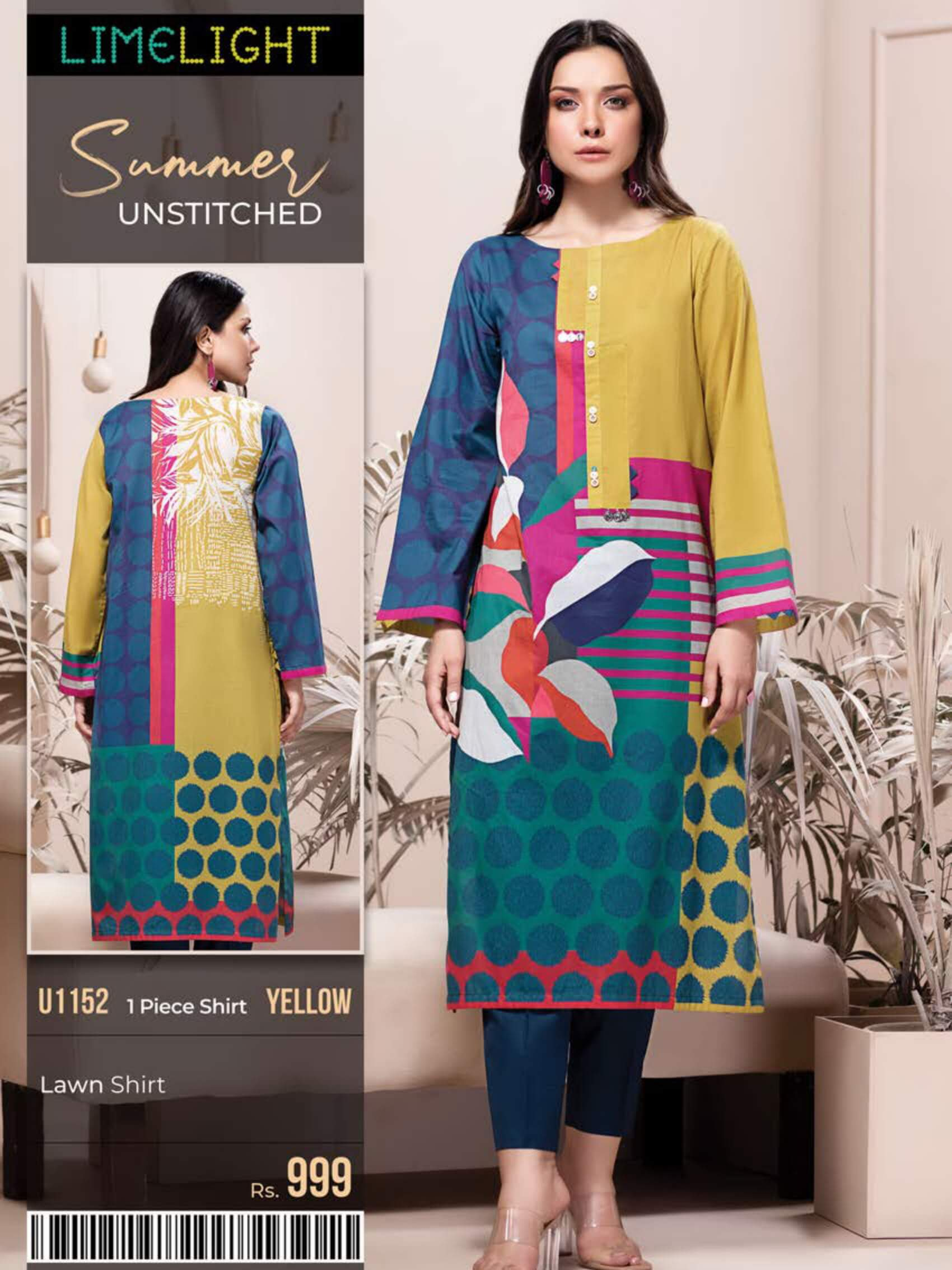 Limelight Lawn Shirt Summer Unstitched 2020 U1152 Yellow - FaisalFabrics.pk