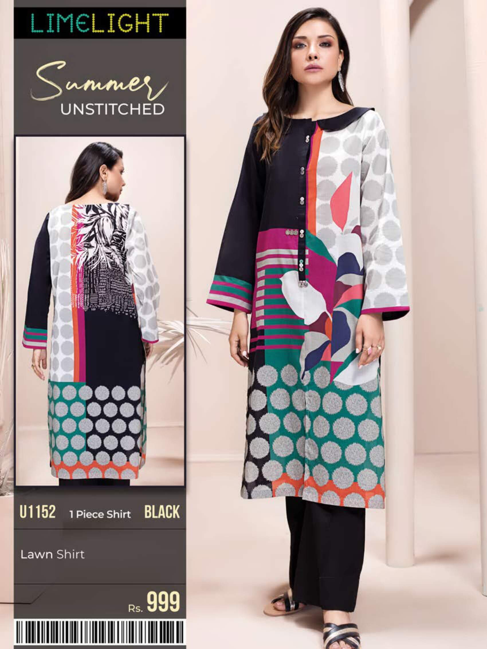 Limelight Lawn Shirt Summer Unstitched 2020 U1152 Black - FaisalFabrics.pk