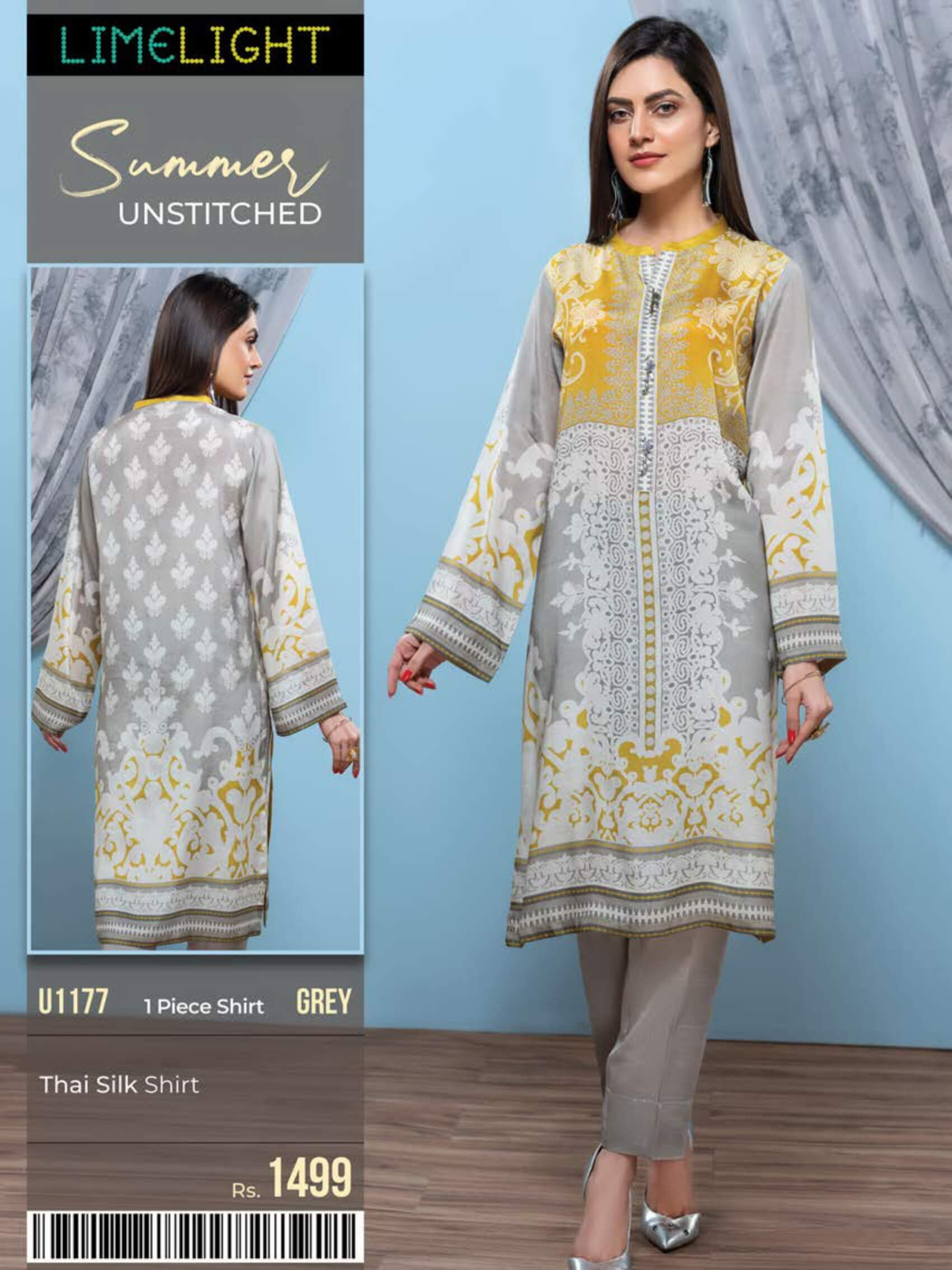 Limelight Lawn Shirt Summer Unstitched 2020 Thai Silk U1177 Grey - FaisalFabrics.pk