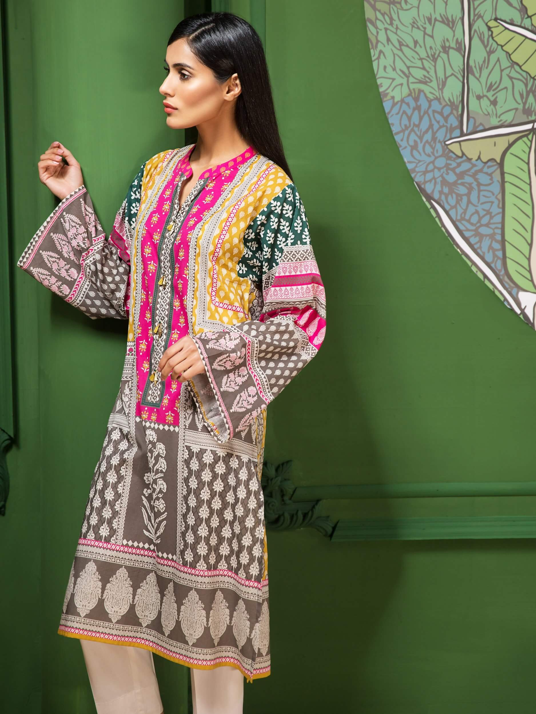 LimeLight Lawn 1PC Unstitched Shirt Summer Collection 2019 U0648 Yellow - FaisalFabrics.pk