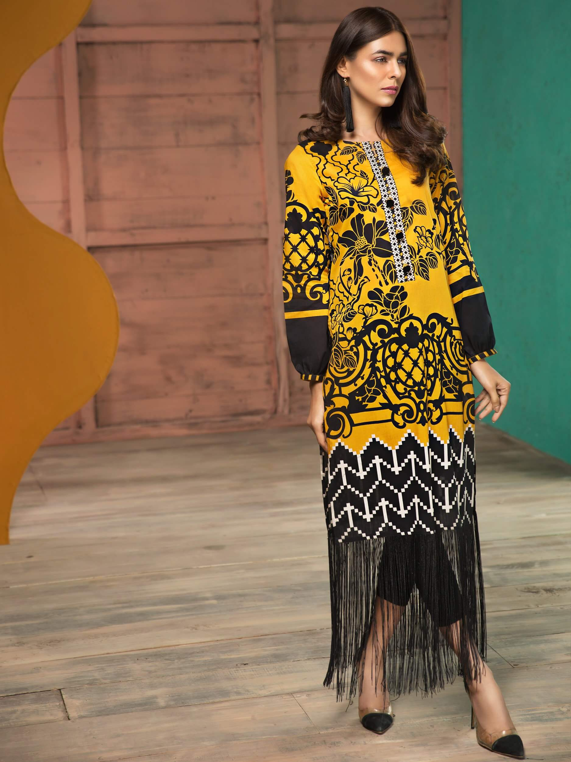 LimeLight Lawn 1PC Unstitched Shirt Summer Collection 2019 U0732 Yellow - FaisalFabrics.pk