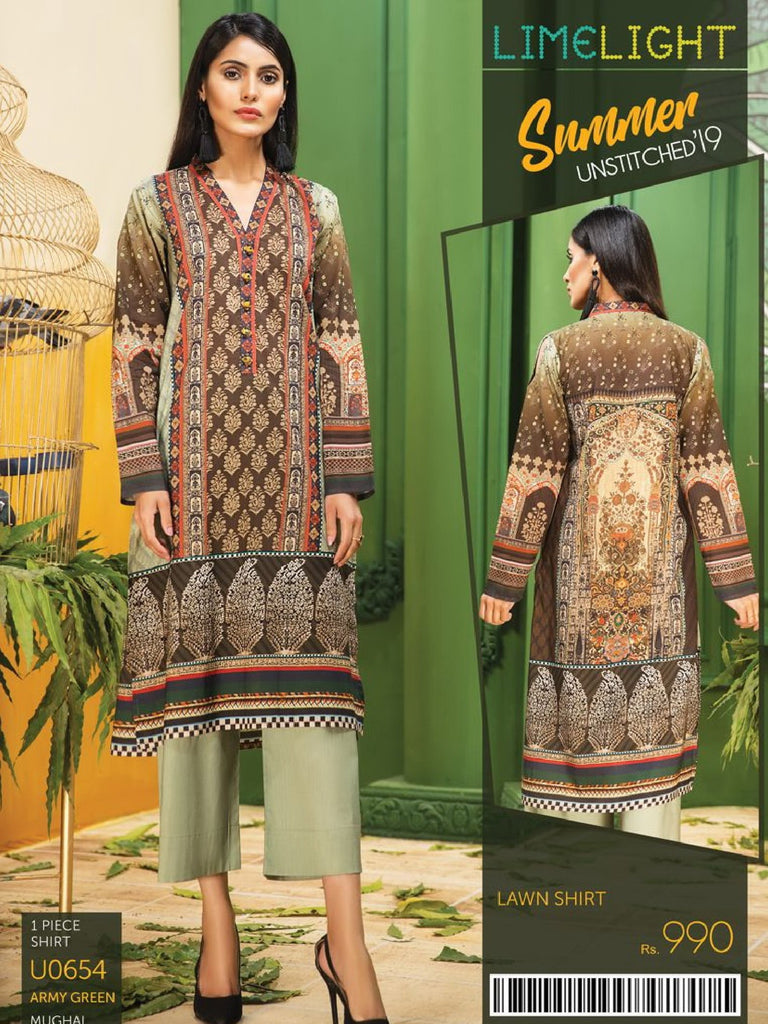 38819e09e3 ... Unstitched Shirt Summer Collection 2019 U0654 Army Green. LimeLight  19-U0654 Army Green