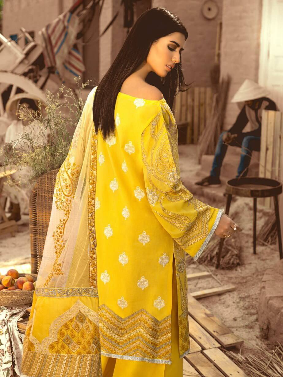 Maryum N Maria Premium Embroidered Lawn Collection 3PC Suit MML-07 - FaisalFabrics.pk