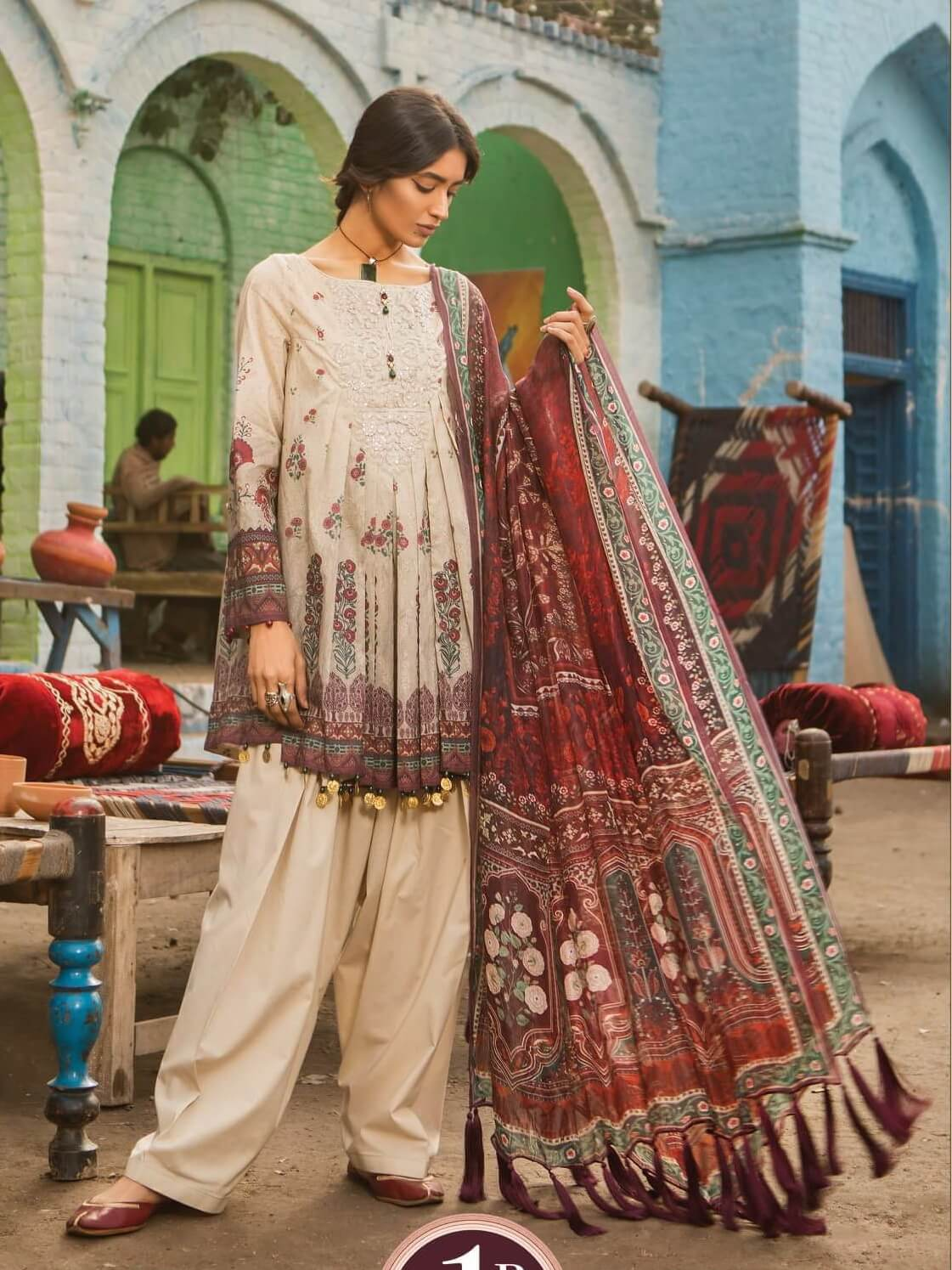MARIA.B M.Prints Embroidered Lawn 3Pc Suit Summer 2019 MPT 1B - FaisalFabrics.pk