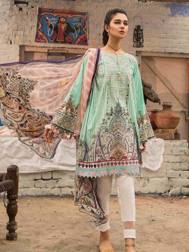 MARIA.B M.Prints Embroidered Lawn 2Pc Suit Summer 2019 MPT 6B - FaisalFabrics.pk