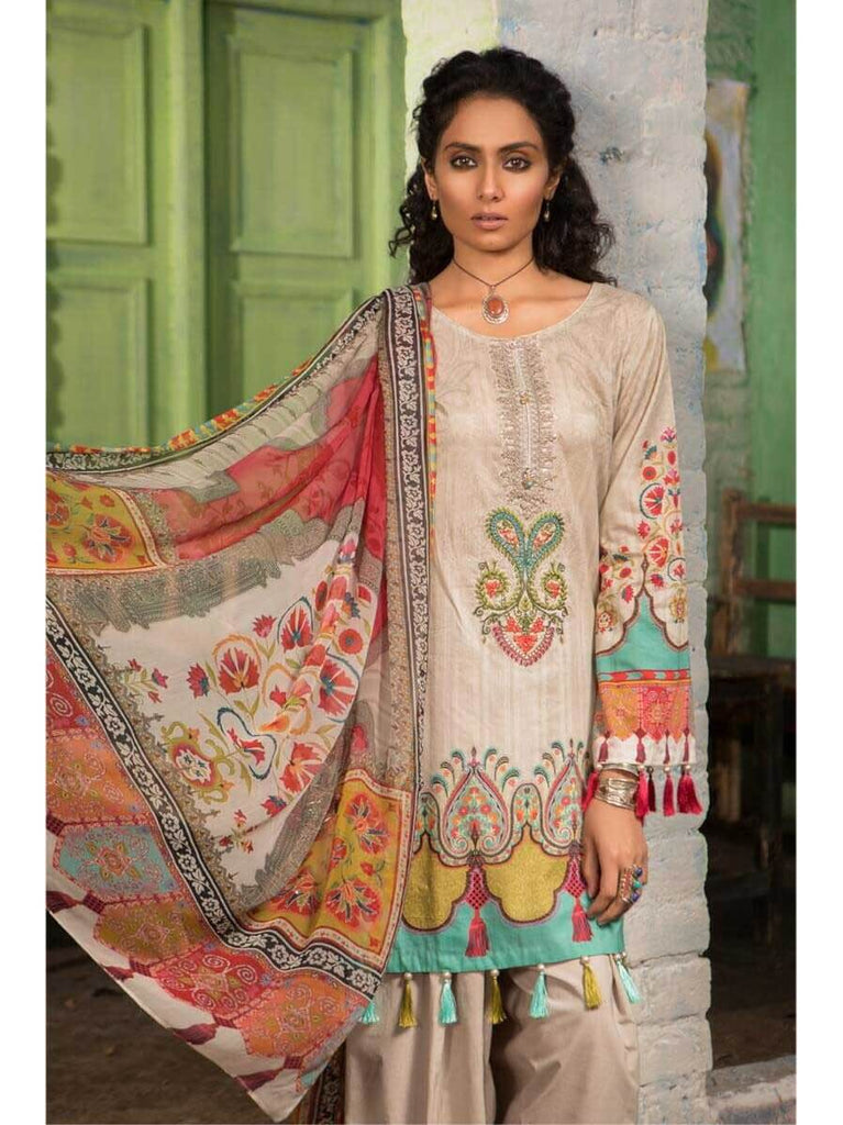 ab9adc0ecd MARIA.B M.Prints Embroidered Lawn 3Pc Suit Summer 2019 MPT 10A ...